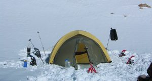 Winter mountaineering camp in the High Sierra.